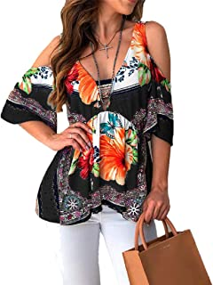 HEFASDM Women's Blouse Floral Printed Cut out Shoulder Leisure Tees Top