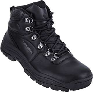 Mens Waterproof Hiking Boots Mid-Top Non-Slip Insulated Work Boots Leather Mountaining Boots for Trekking Trails Walking Black