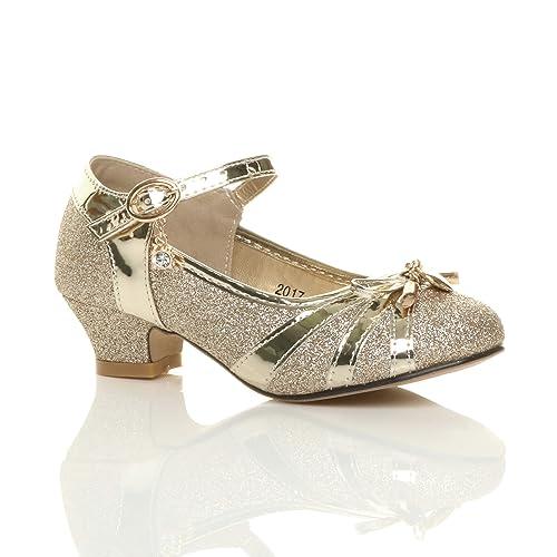 8da8c002230 Girls Kids Childrens Low Heel Diamante Bow Mary Jane Glitter Court Shoes  Size