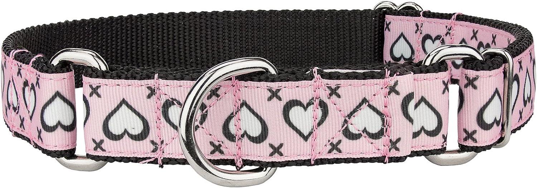 Country Brook Design Stitched Hearts Ribbon Martingala Dog Collar Medium
