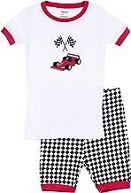 Leveret Shorts Racing Car 2 Piece Pajama, White Racing Car, 10 Years
