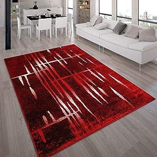 Alfombra De Diseño Moderna De Pelo Corto En Rojo Y Crema