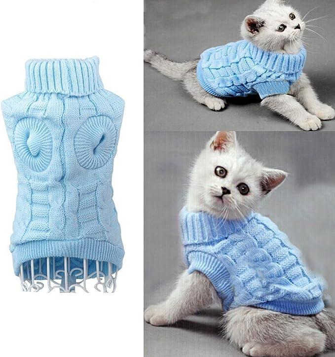 Katzen warm Strickkleidung Haustiere Aulola Hundemantel f/ür den Winter f/ür Welpen Gr/ö/ße L Grau