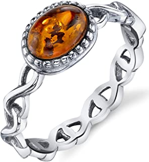 Infinity Design Sterling Silver Ring with Baltic Amber Cognac Color Stone Sizes 5-9