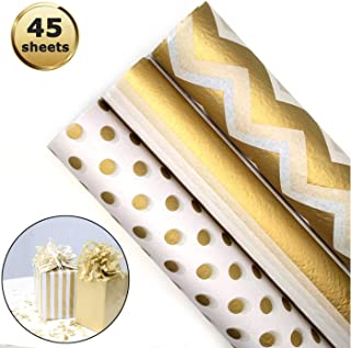 45 hojas de papel de regalo metálico dorado,Papel de Seda de Envolver Regalo Papel de Seda Blanco Dorado Metálico para envolver regalos
