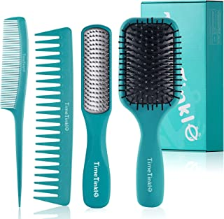 TimeTinkle Hair Brush Set - Detangler, Styling Brush, Tail Comb & Wide Tooth Comb for Women & Men, Great on Wet or Dry Hair