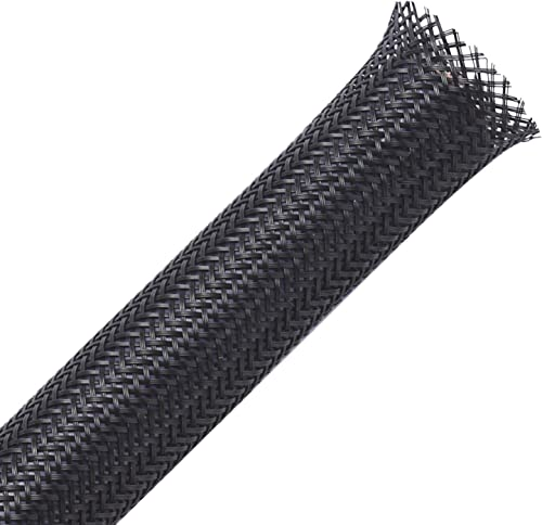 100ft - 1/4 inch PET Expandable Braided Sleeving – Black – Alex Tech Braided Cable Sleeve