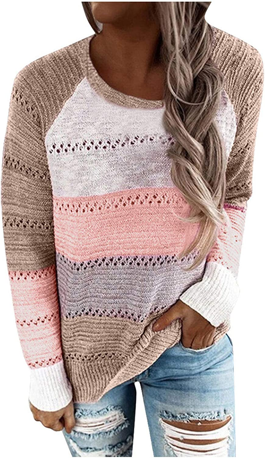 Womens Casual Crewneck Tie Dye Sweatshirt Fashion Colorblock Striped Printed Loose Soft Long Sleeve Pullover Tops Shirts