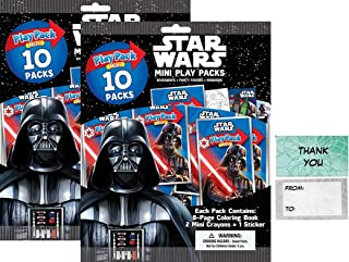 """Bendon Star Wars 20 Mini Play Packs Party Favors Bundle 20 """"Thank You Cards (2 Bags 10)"""