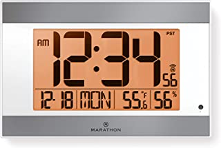 Marathon Large Atomic Wall Clock with Auto Backlight, Calendar, Temperature, and Humidity - Self Setting, Self Adjusting - Batteries Included - CL030052WH-SV (White Frame, Silver Trim)