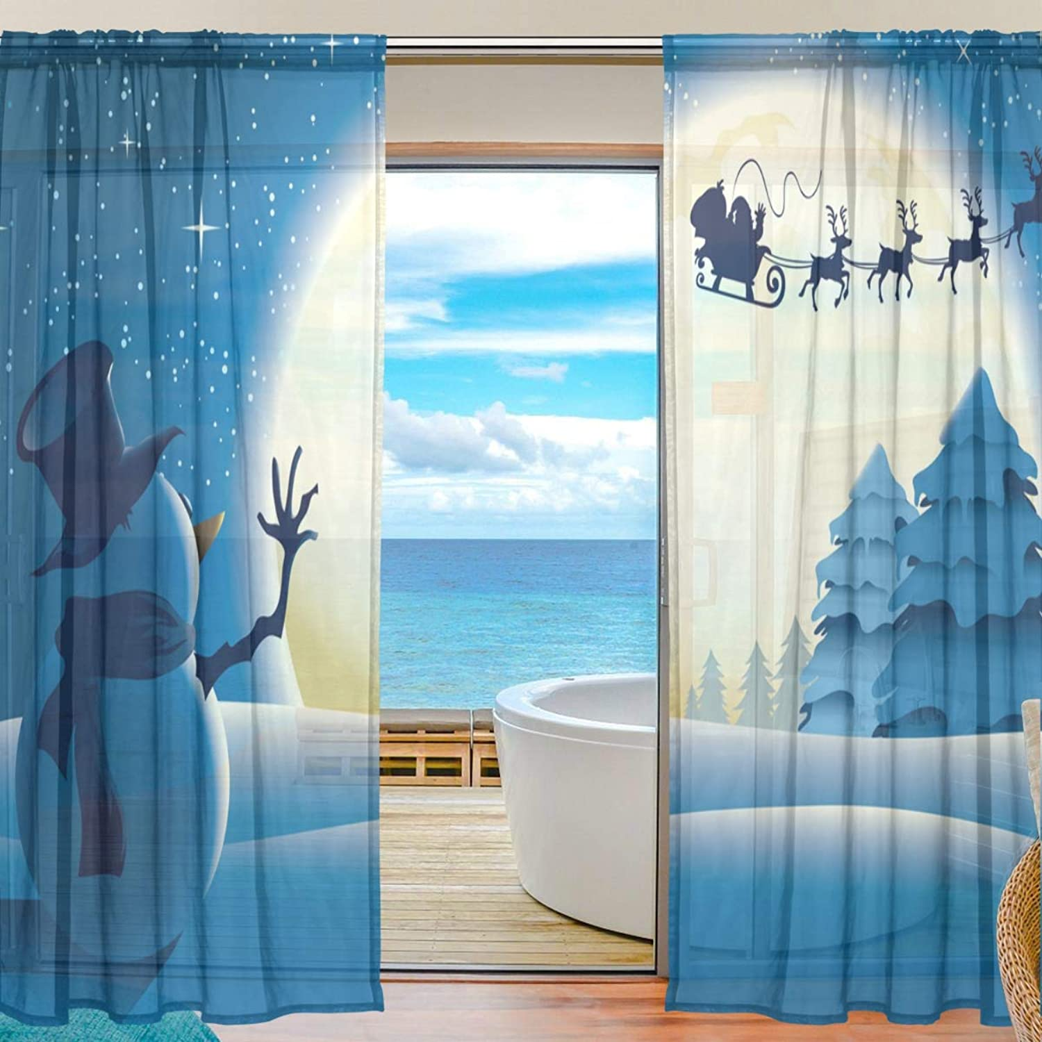 Merry Christmas Snowman 2 Pieces Curtain Panel 55 x 78 inches for Bedroom Living Room