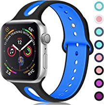 KOLEK 42mm/44mm Series 4 Band Compatible with iWatch 4/3/2/1 for Women/Men, S/M, Black/Blue