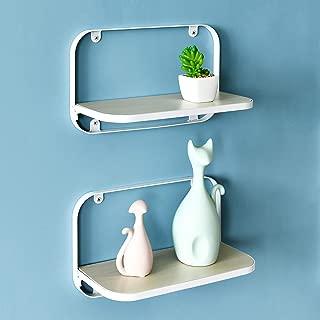 WELLAND Arlington Floating Shelves Set of 2 | Folding Display Wall Shelves | Walnut Grain Wooden Board & Metal Frame | 12