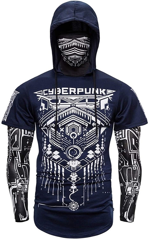 Color : Blue, Size : 1XL V/êtements dentra/înement ext/érieur pour Hommes Fake Two-Punk Punk Ninja T-Shirt /à Capuche T-Shirt Jogging Bodybuilding Jacket de personnalit/é /à Manches Longues