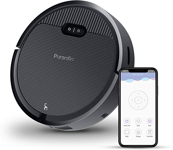 Premium Automatic Robot Vacuum Cleaner 1500Pa Powerful Suction 650ML Large Dust Box Smart App Control Self Charging Anti Collision Good For Pet Hair Hard Floor And Low Pile Carpets Black