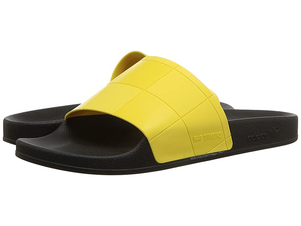 Image of adidas by Raf Simons Adilette Checkerboard (Core Black/Core Black/Super Lemon) Men's Shoes