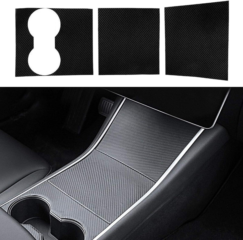 JUXATECH Tesla Model 3 Center Console Wrap Console Cover Interior Decoration Wrap Kit Carbon Fiber Black