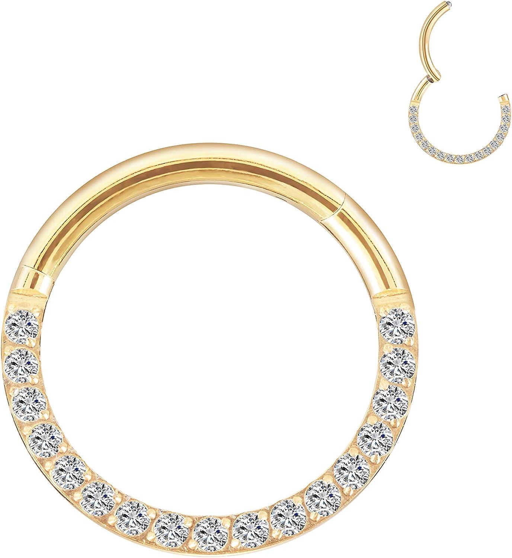 G23 Titanium 14G 16G CZ Cartilage Earring Hoop,1 Pcs Nose Ring Hoop Cartilage Earrings for Women Men Gold Helix Tragus earrings Daith Septum Piercing Jewelry 8mm-10mm