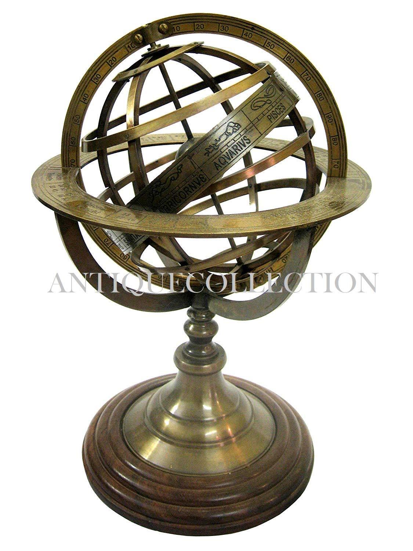 """Nautical 9/"""" Brass almunium  Globe Armillary Unique Marine Table Decor Item"""