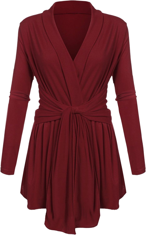 Zeagoo Womens Knit Open Front Cardigan Sweaters Ladies Fall Outerwear Oversized Jacket Coat Wine Red L