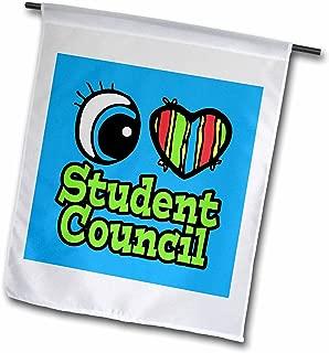 3dRose fl_106575_1 Bright Eye Heart I Love Student Council Garden Flag, 12 by 18-Inch