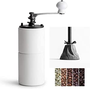 Akirakoki Manual Coffee Bean Grinder Wooden Mill with Cast Iron Burr, Large Capacity Hand Crank, Portable Travel Camping Adjustable (White wood)