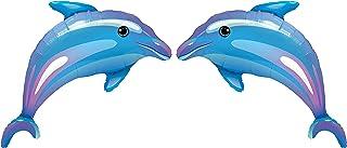 ZiYan Delightful Dolphin Microfoil Balloon, 38-Inches, Blue, 2-Unit