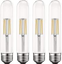 Luxrite Vintage T9 LED Tube Light Bulbs 60W Equivalent, 2700K Warm White, 550 Lumens, Dimmable Edison Tubular Light Bulbs 5W, Clear Glass, LED Filament Bulb, UL Listed, E26 Standard Base (4 Pack)