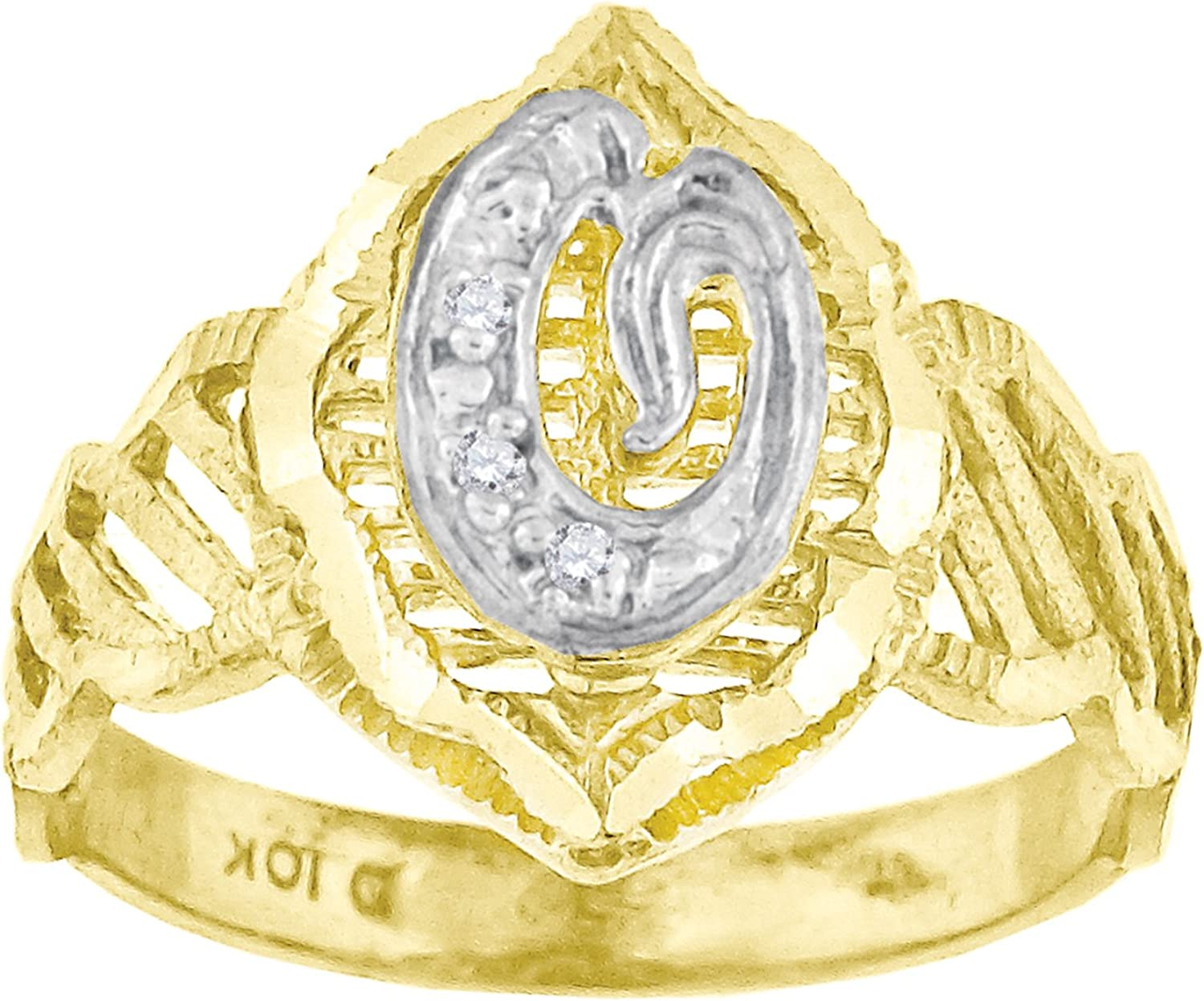 10kt TwoTone gold Womens Round Cubic Zirconia CZ Initial Letter  O  Fashion Ring