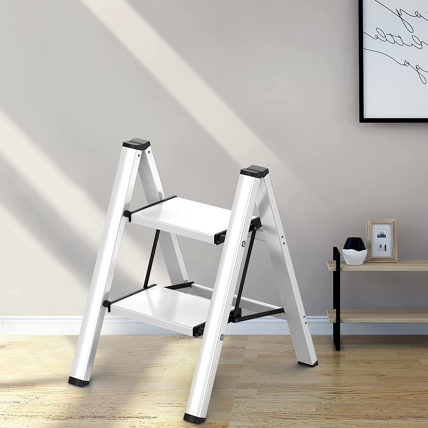 2 Steps Ladder Anti-Slip Foldable Silver Aluminum Lightweight and Wide Pedal for Home and Kitchen Space Saving - -