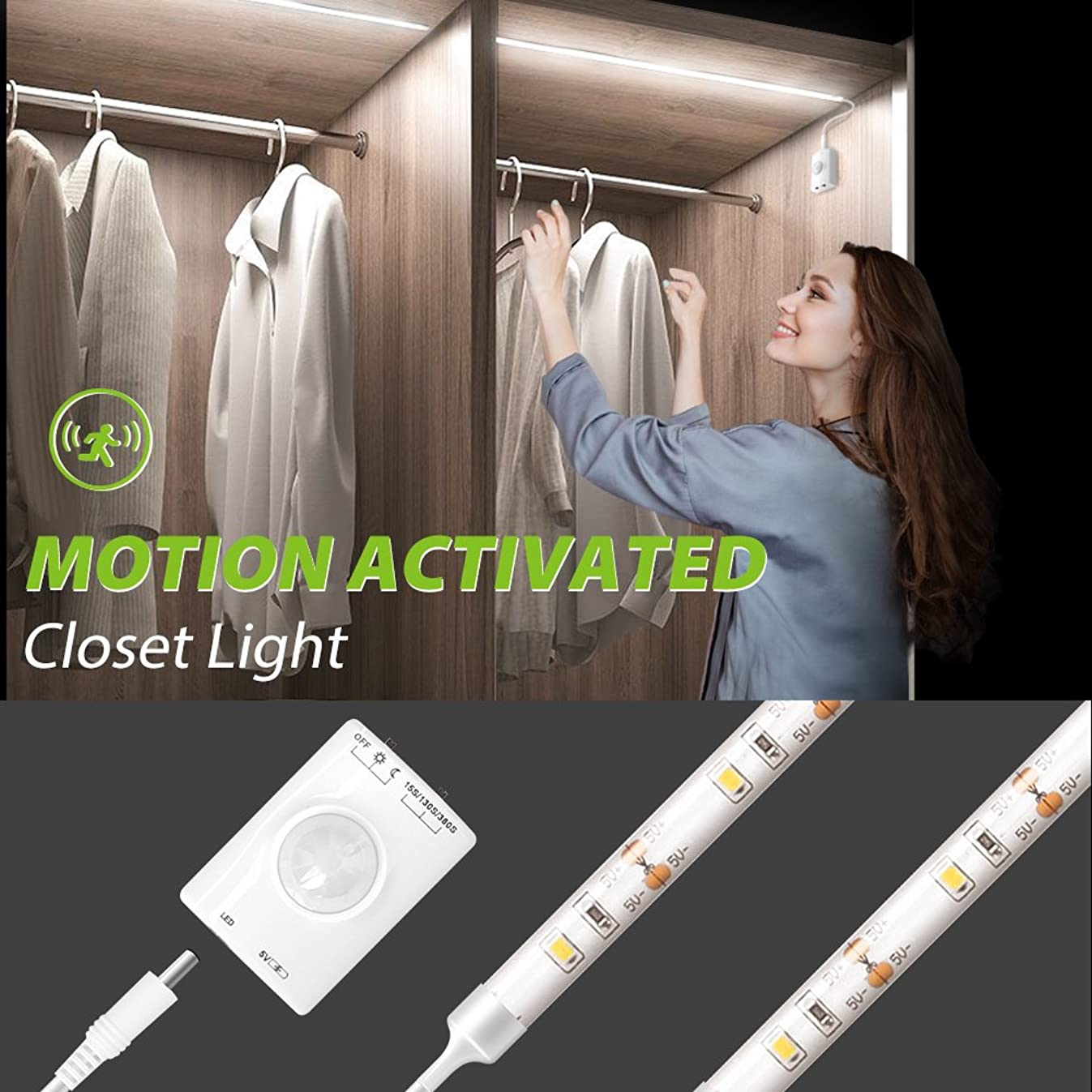 Motion Activated Closet Light, Megulla Motion Sensor LED Night Light -39inch, USB Rechargeable Battery, Stick Anywhere -Auto Shut Off Timer for Kitchen Cabinets, Laundry and Garage -1Pack, Cool White