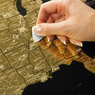 Detailed Scratch Off USA Map Black (16x24in) United States Travel Map Gift – Includes Rewritable Marker – Made of Flexible Plastic by 1DEA.me