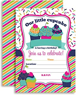 Cupcake Birthday Party Invitations for Girls, 20 5