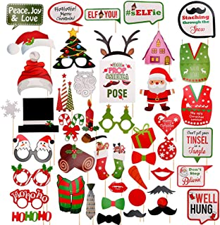 Christmas Photo Booth Props 47pcs, DIY Christmas Photo Booth with Stick Funny Xmas Selfie Props Accessories Christmas Dres...