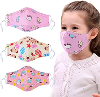 Dust Mask for Kids,Aniwon 3 Pcs PM2.5 Kids Mouth Face Mask with 6 Pcs Activated Carbon Filter Insert,Washable Cute Cotton Mouth Mask with Adjustable Straps