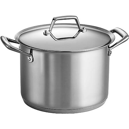 Silver Cuisinox POT-DE28 Deluxe Covered Stock Pot 10.4-Liter