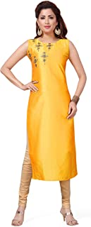 Maple Fashions Yellow Embroidered Party Wear Kurti