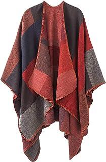 معطف نسائي منقوش على شكل معطف وشال وبطانية مفتوحة من الأمام