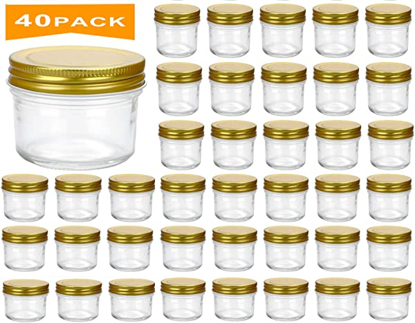 Encheng 4 Oz Clear Glass Jars With Lids Golden Small Spice Jars For Herb Jelly Jams Wide Mouth Manson Jars Canning Jars For Kitchen Storage 40 Pack