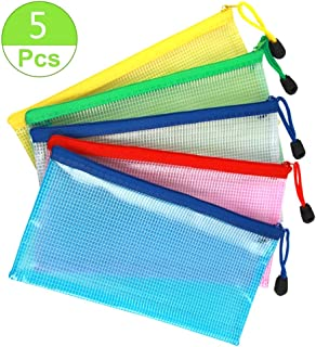 SAKOLLA 5 Pieces Clear Zipper Pencil Bag, Plastic Mesh Zipper Pouches for Cosmetic Makeup Office Supplies and Travel Accessories, 5 Colors 9.2 x 4.15 inch