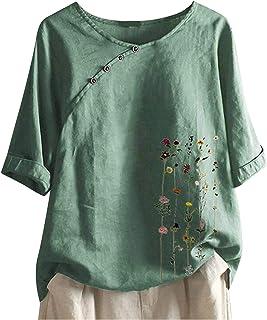 Xmiral T-shirt met korte mouwen voor vrouwen Chinese stijl schuine knop ronde hals blouse