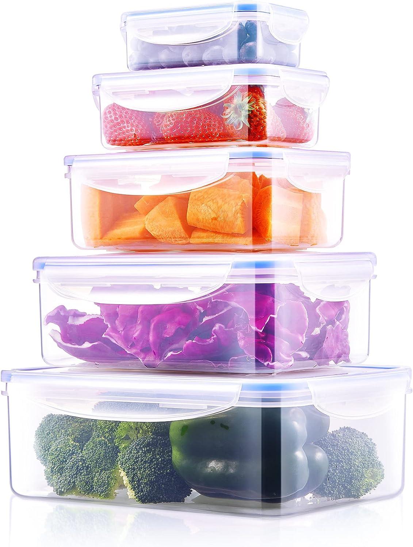 Fiambreras, Set de 5 Recipientes para Alimentos (0.24L, 0.5L, 1L, 1.5L, 2.5L), Plástico Sin BPA, Apto para Lavavajilla, Microondas, Congelador Set de Recipientes Herméticos