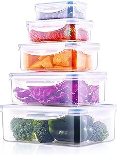Deik Boîte Alimentaire, 5 Pièce (0.24L, 0.5L, 1L, 1.5L, 2.5L) Set de boîte de Conservation Alimentaire, étanche, au Micro-...