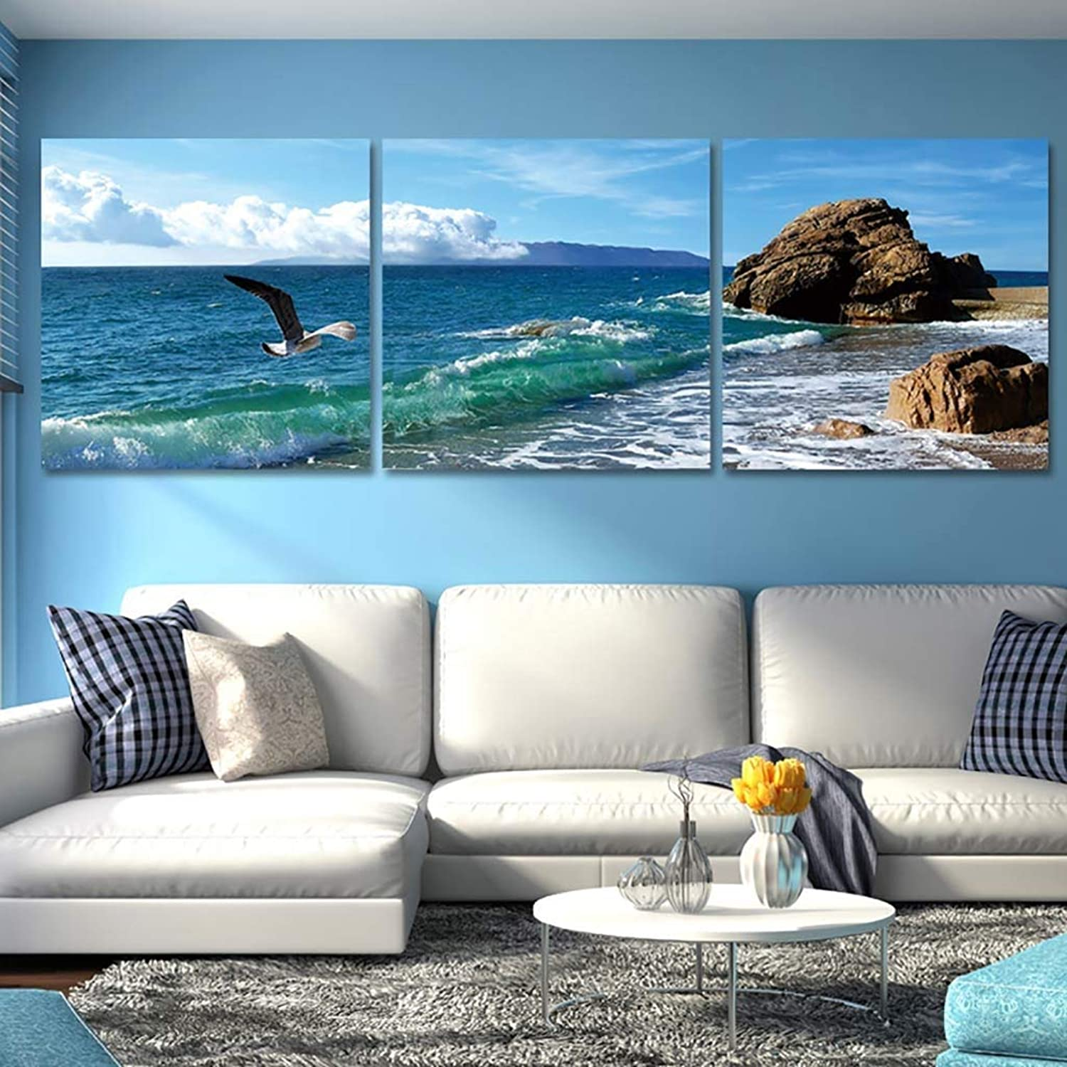 WENJUN Wall Art Picture 3 Panels Modern Stretched And Framed Sea Beach Pictures On Canvas Wall Art For Bedroom Home Decorations,5 colors,4 Sizes ( color   A , Size   6060 cm )