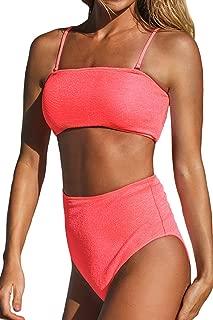 Women's Neon Pink Bandeau Top High Waisted Bikini