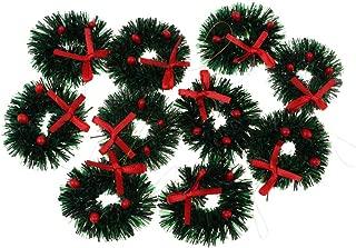 Prettyia Pack of 10 Miniature Hanging Christmas Wreath Ornaments for Tree Trim Embellishments & Dollhouse Door Decor