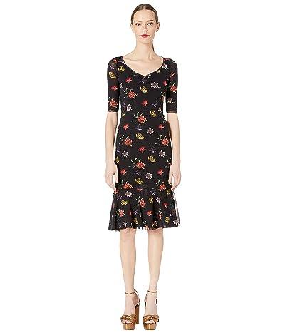 FUZZI Small Flower Tulle Print 1/2 Knee Length Dress (Nero) Women