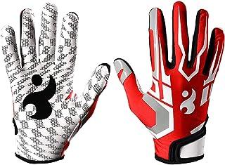 シリコーン滑り止めハニカムメンズ女子野球グローブ、1対の野球用グローブ スポーツ用手袋 (Color : Red, Size : L)