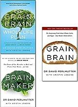 David Perlmutter 3 Books Collection Set - The Grain Brain Whole Life Plan, Brain Maker, Grain Brain - The Power of Gut Mic...