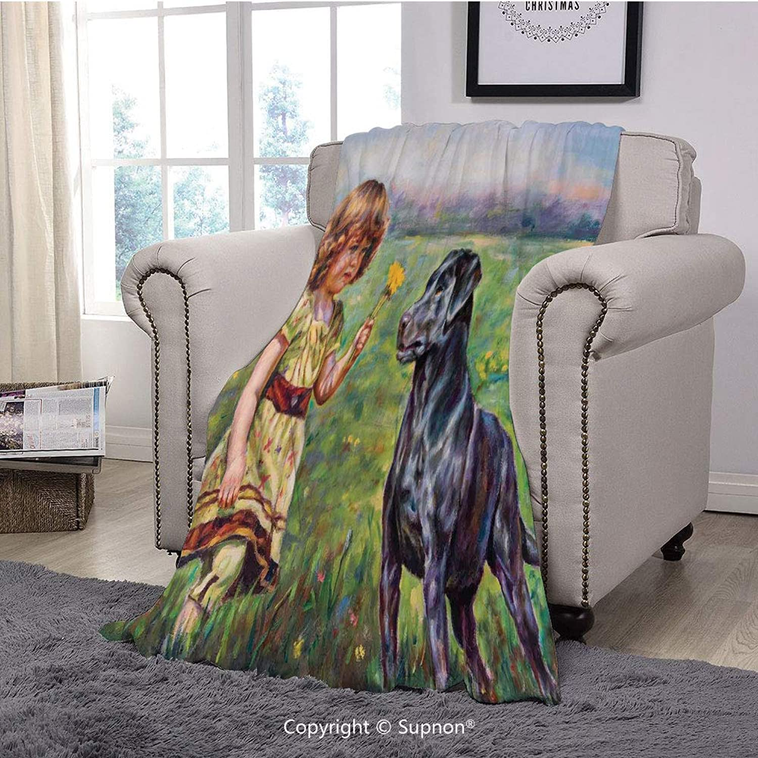 Printing Blanket Coral Plush Super Soft Decorative Throw Blanket,Country Decor,Paint of a Cute Little Girl with her Tiny Flower and Dog in The Meadow Pastoral Art Work,Multi(59  x 59 )